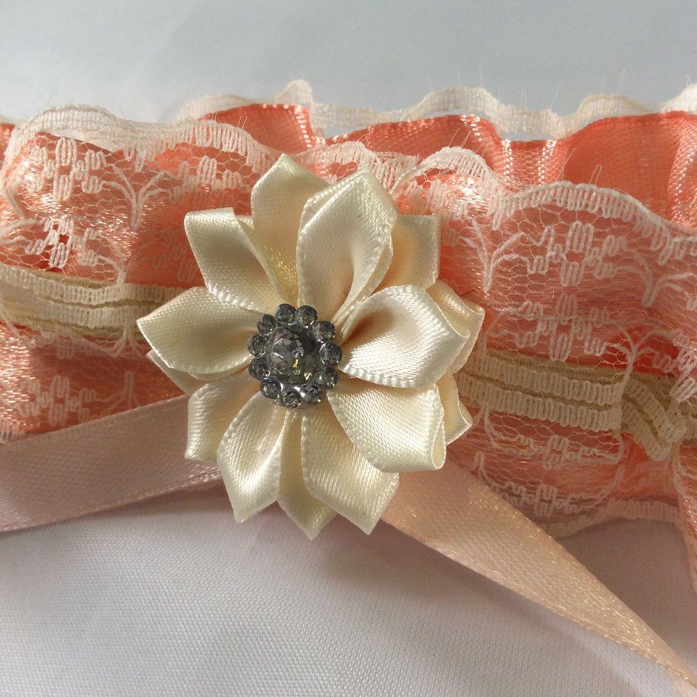 Plus Size Wedding Garters: Plus Size XL Hen Prom Wedding Garter Cream Peach Satin