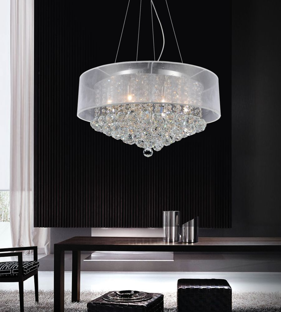 Crystal world inc round 24 inch pendent chandelier with