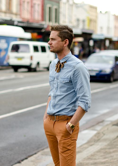 Denim shirt with rust colored jeAns | Men's Fashion that I love ...