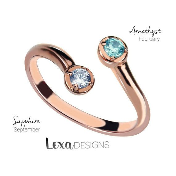 dual birthstone ring birthstone ring birthstone jewelry