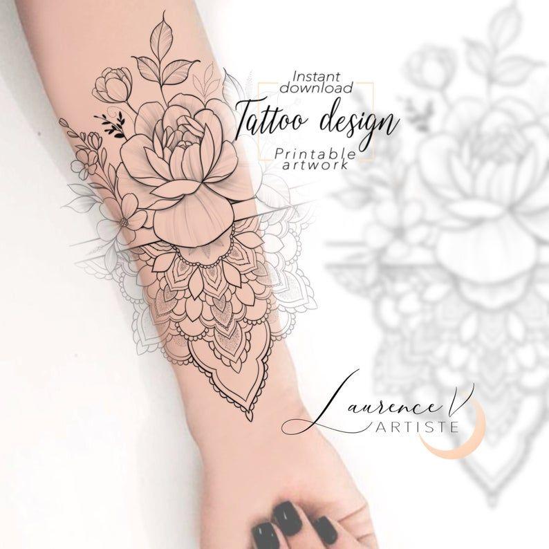 Instant Download Tattoo Design Wildflower Mandala Floral Etsy In 2020 Tattoo Designs Tattoos Floral Tattoo