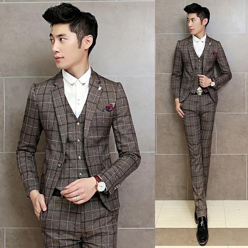 Vintage Plaid Suits Mens Terno Dos Homens Brown Suits Mens 3 Piece