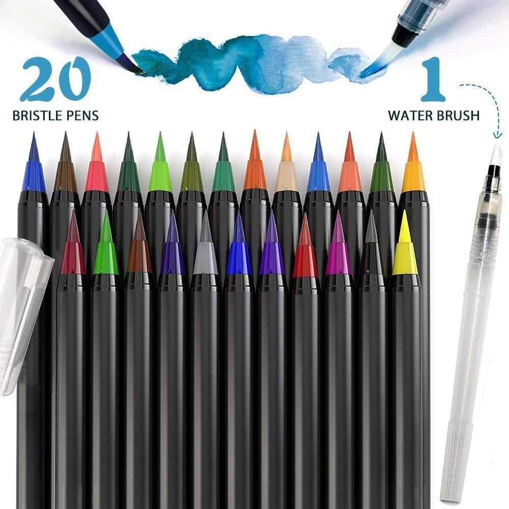Watercolor Brush Pens 20 Colors Calligraphy Pen 100 Non Toxic