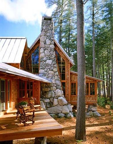 Modern log cabin in maine welcome home pinterest for Contemporary log cabins