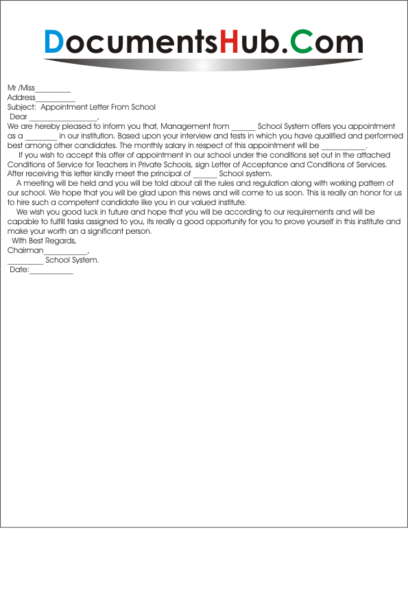 Appointment Letter Format For School Teacher Documentshub Employee