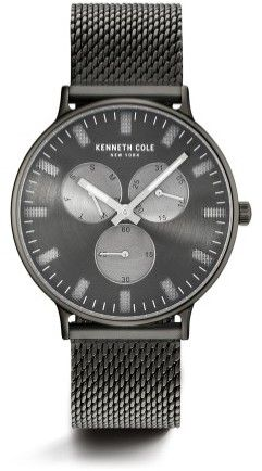 Kenneth Cole New York Kenneth Cole Stainless Steel Mesh Round Multi-Function Watch