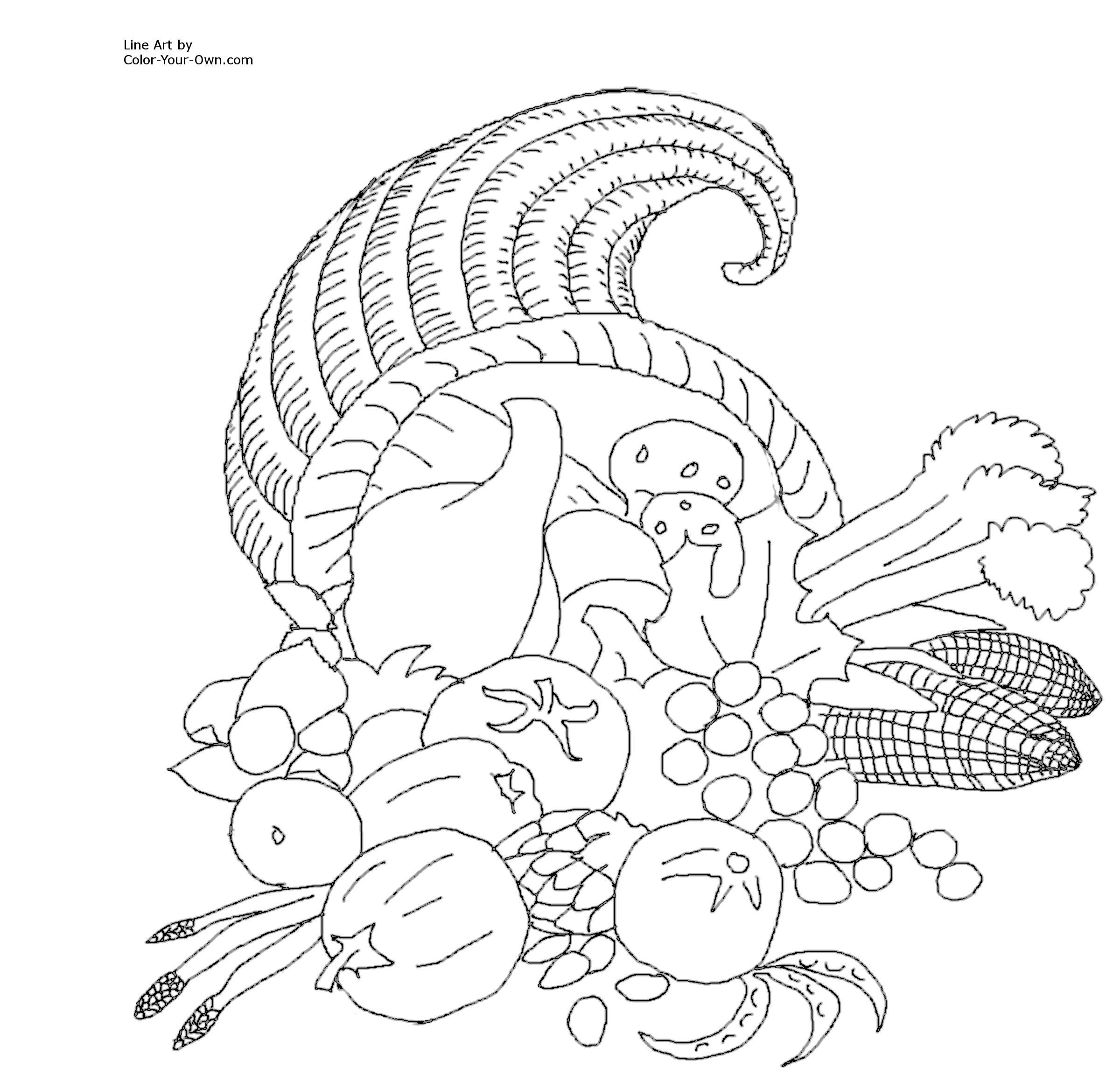 thanksgiving color by number Cornucopia Coloring Page Free