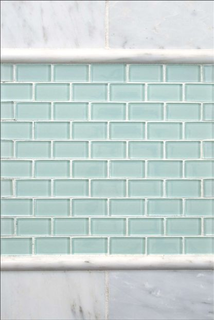 mini subway tile in seaglass tones great for a