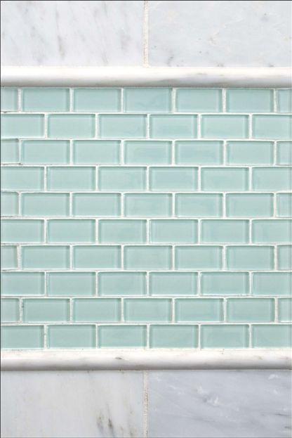 Mini Subway Tile In Seagl Tones Great For A Backsplash