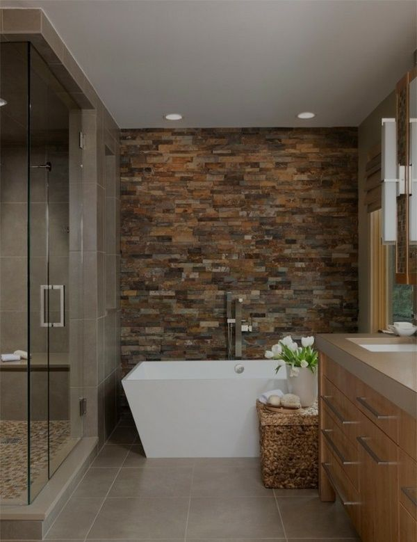 Make Bathroom Modern Ideas Wall Tiles Stone Look Ceramic Freestanding Bathtub