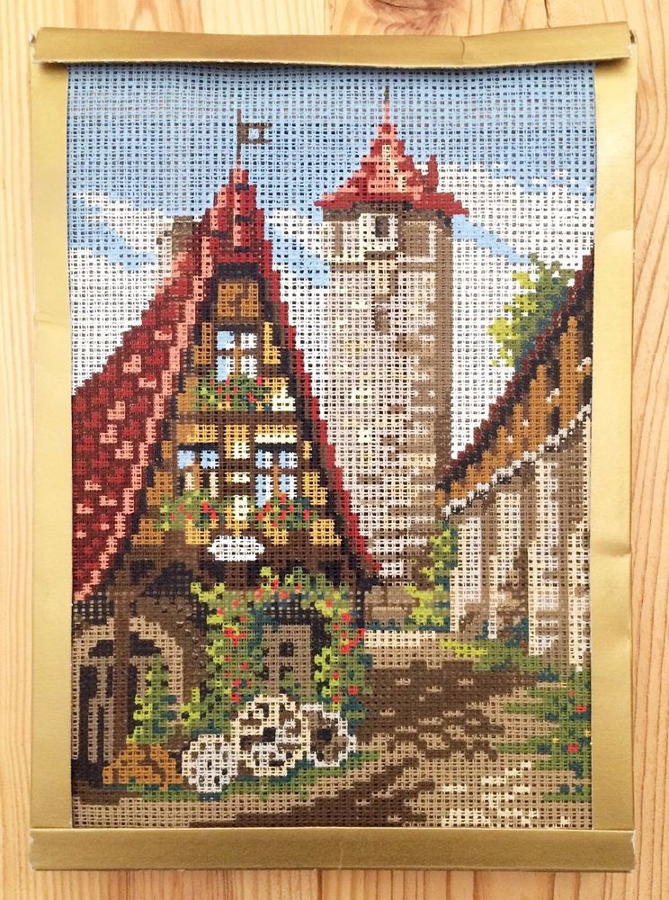 "AMC German Handarbeiten Needlepoint Kit ""Alte Schmiede"" Forge Rothenburg 9.5x7 #AMC"