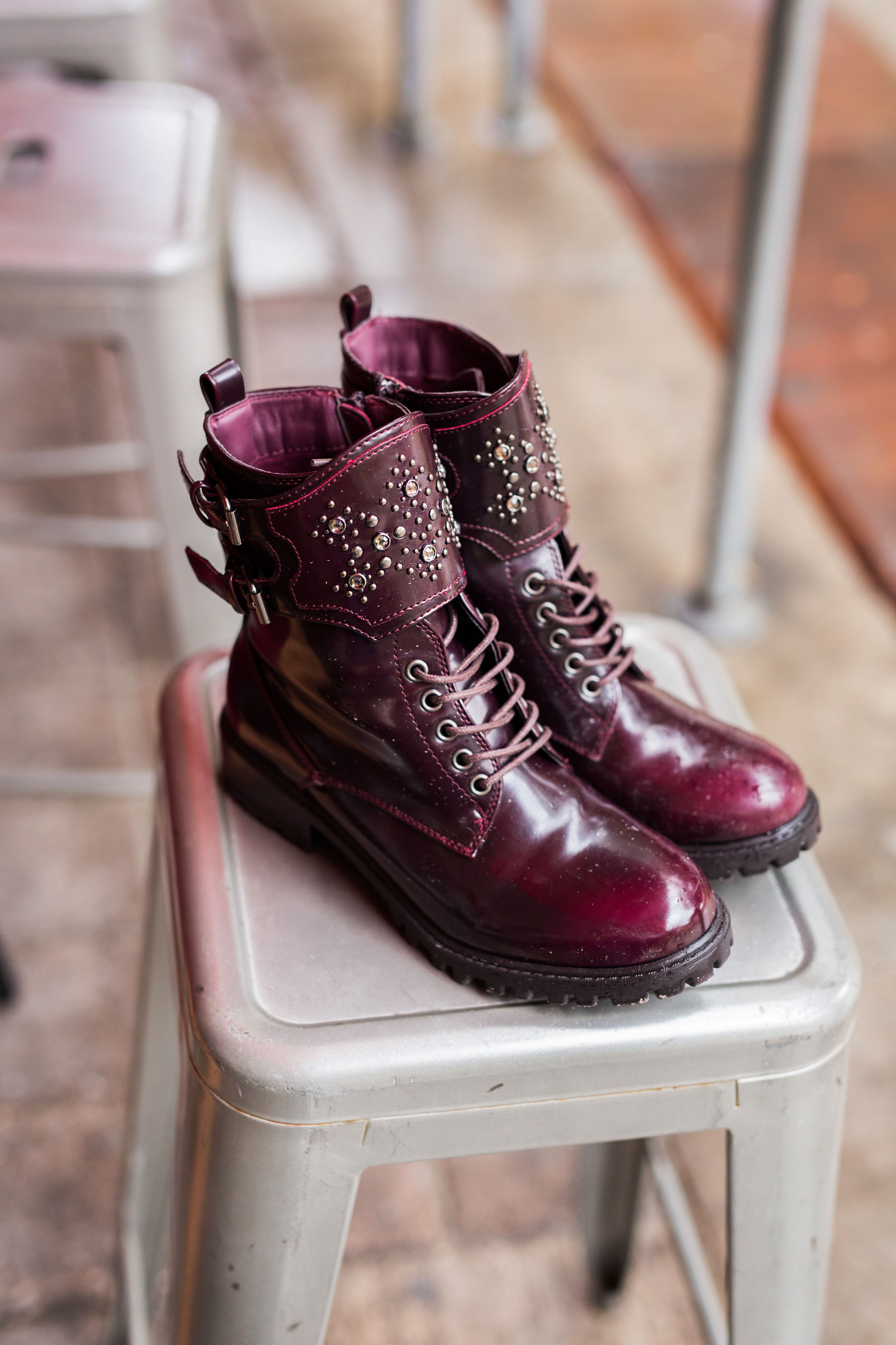 The MIA Perry combat shield studded combat boots will knock everyone down. Featuring a round toe, lace up, with a studded shield and buckle detail which will give you dangerous appeal. Shop the Perry here http://www.miashoes.com/perry.html
