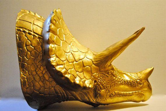Triceratops Dinosaur Head Wall Mount Gold Dinosaur
