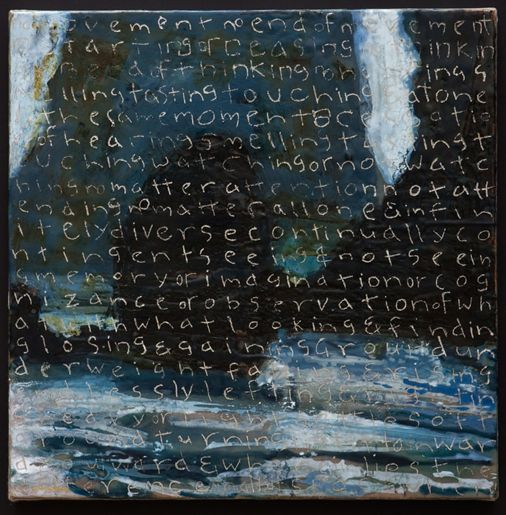 "Jef Gunn | No Moment | encaustic, tar, silver leaf on wood panel prepared with canvas and plaster, 21""x21"" /sm"