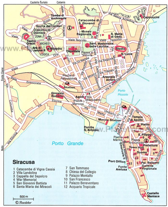 Syracuse Map Tourist Attractions Sizilien