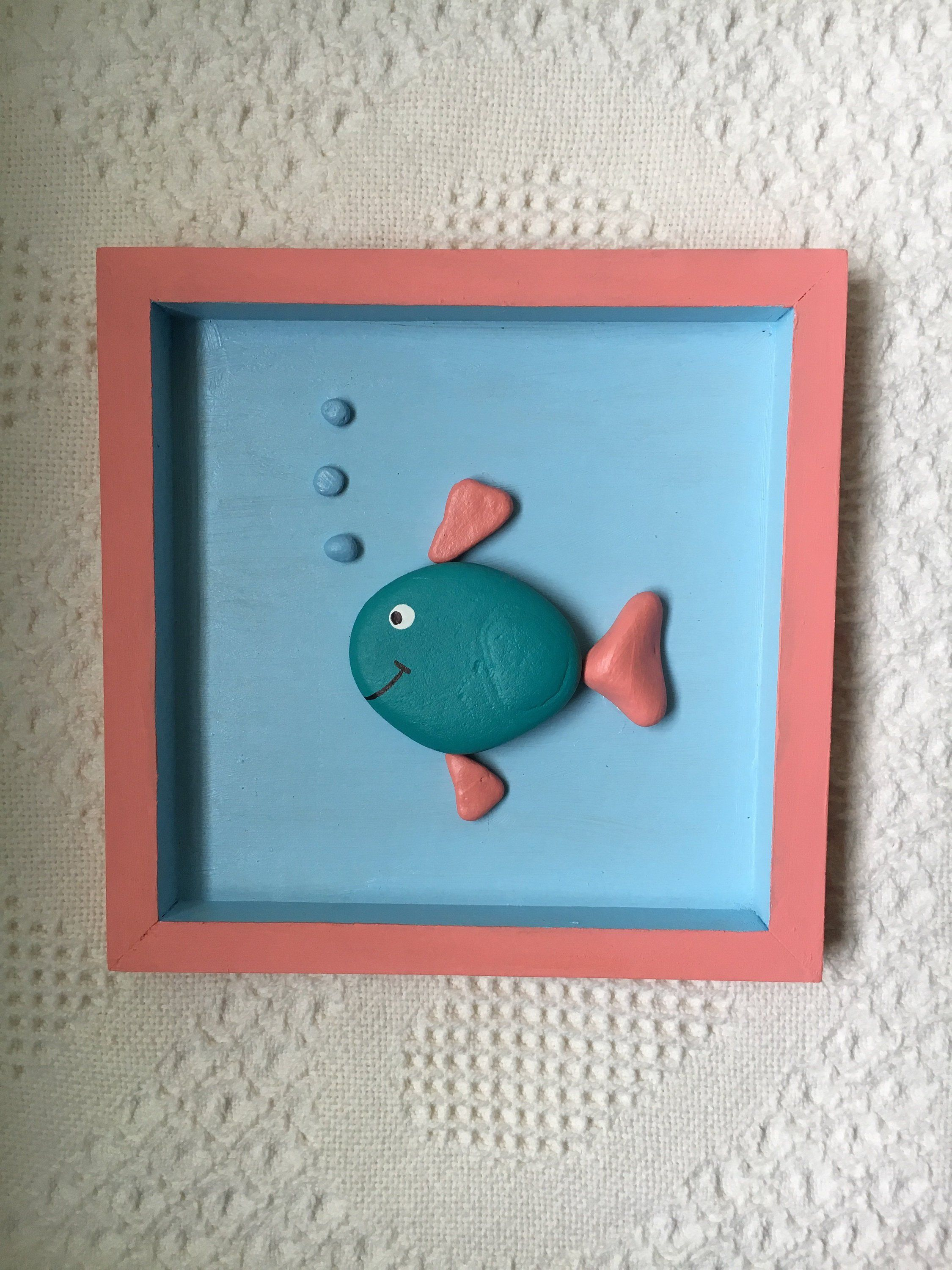 Fish decor, fish pebble art framed, painted pebble art for kids, beach house decor, office wall art, nursery wall art, baby shower gift #craftstomakeandsell