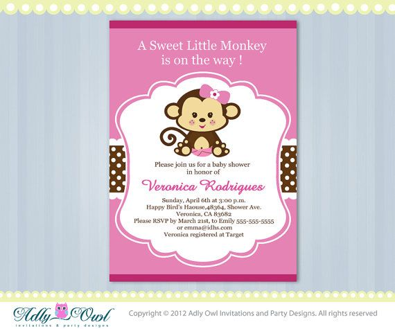 Great Girl Monkey Jungle Monkeys Baby Shower Printable DIY Party Invitation For  Girl In Pink, Brown