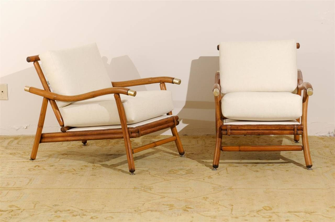 Attirant Restored Pair Of Campaign Lounge Chairs By John Wisner For Ficks Reed Image  2