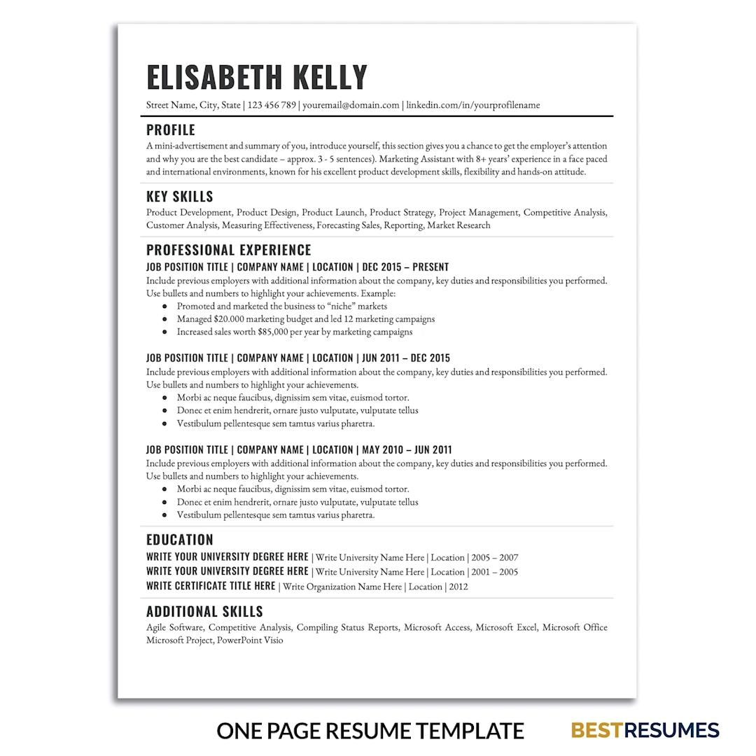 A Simple Resume Template Word - Simple One Page Resume Template for Microsoft Word