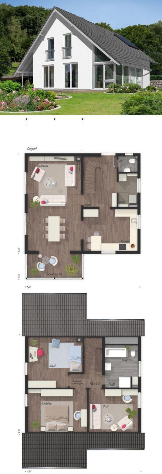 Grundrisse des modernen Hausdesigns mit Giebeldacharchitektur Wintergartenerweiterung & …   – Moderner Anbau