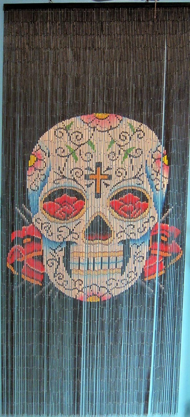 Hand Painted Beaded Bamboo Curtain- Sugar Skull
