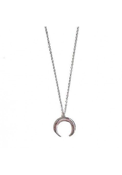 3b5e90f39b08 Collar cadena fina con media luna invertida. Material  Plata de Ley ...