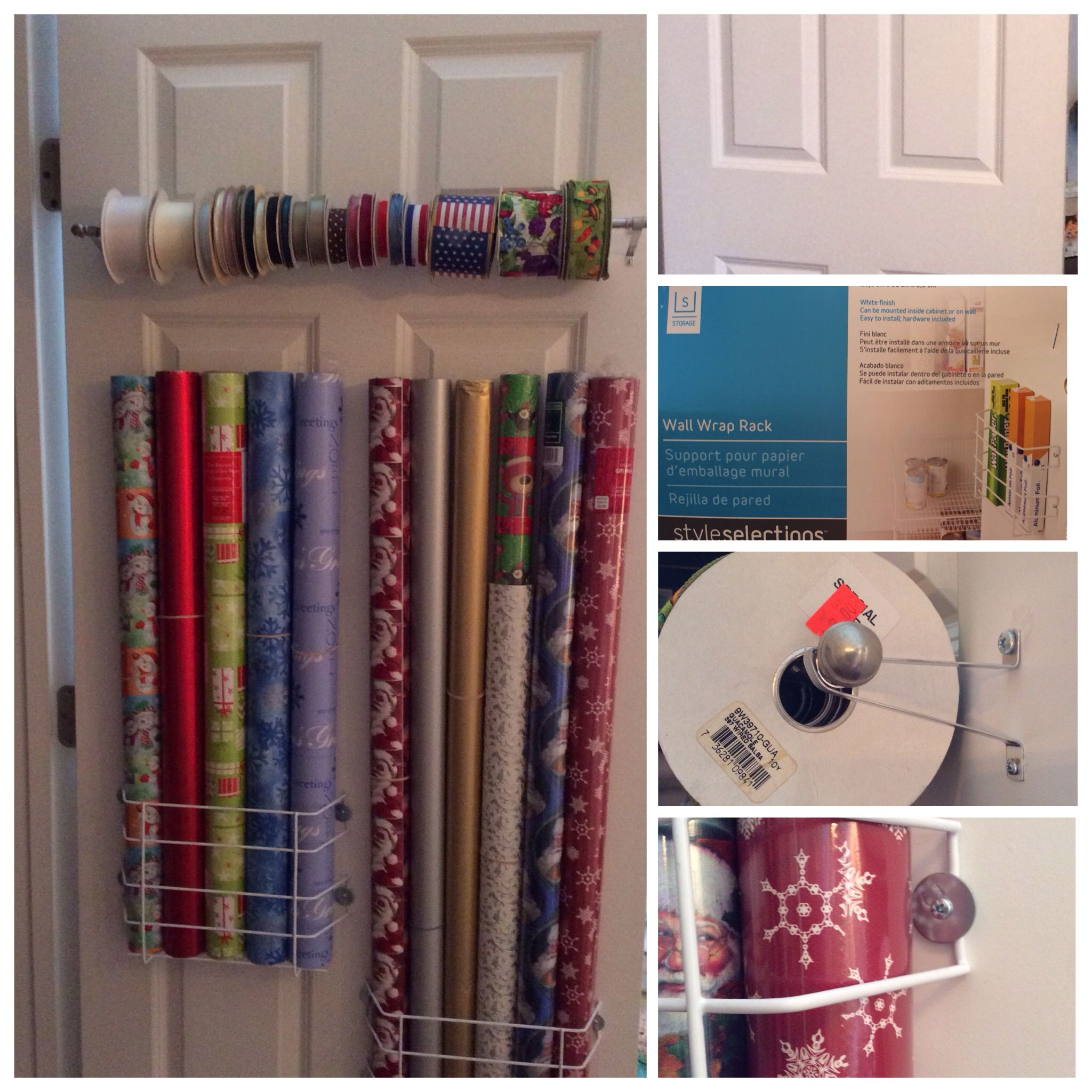 Closet Door Wrapping Paper Organization For Under $15.00. 2/racks From  Loweu0027s For Under