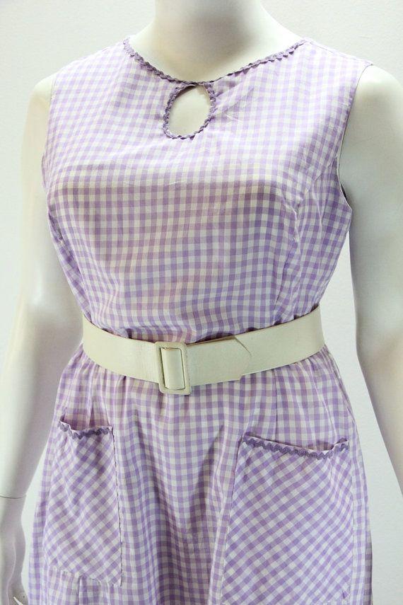 PLUS SIZE Vintage Dress XXXL Purple and White by SIZEisJUSTaNUMBER