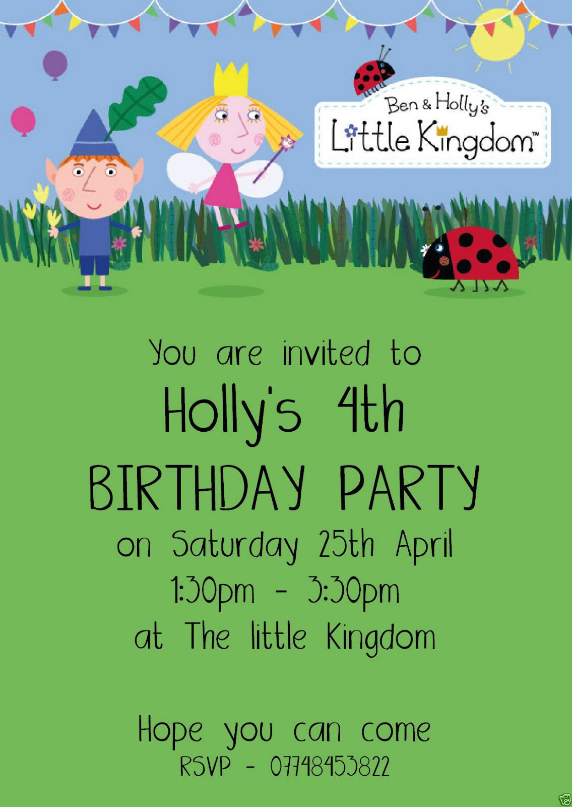 10 Personalised Ben & Holly Children Birthday party invitations ...
