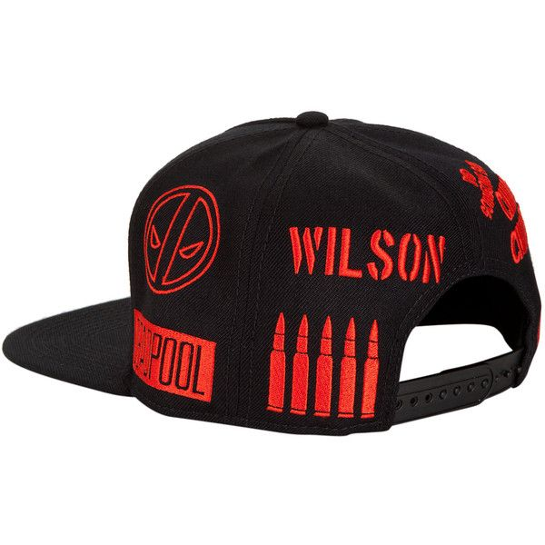 891421bd735 Marvel Deadpool Allover Embroidered Snapback Hat Hot Topic ( 15) ❤ liked on  Polyvore featuring accessories