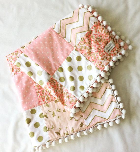 minky Baby Pink Baby blanket. Gold polka dot