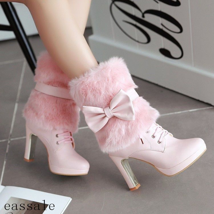Cute Lolita Donna Bow Fur Winter Furry Winter Fur High Heel Ankle Stivali Lace   76c93e