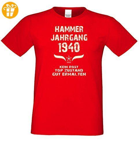 Geschenk zum 77. Geburtstag :-: GeschenkIdee Herren Geburtstags-Sprüche-T-Shirt mit Jahreszahl :-: Hammer Jahrgang 1940 :-: Jubiläumsgeschenk :-: Farbe: rot Gr: L (*Partner-Link)