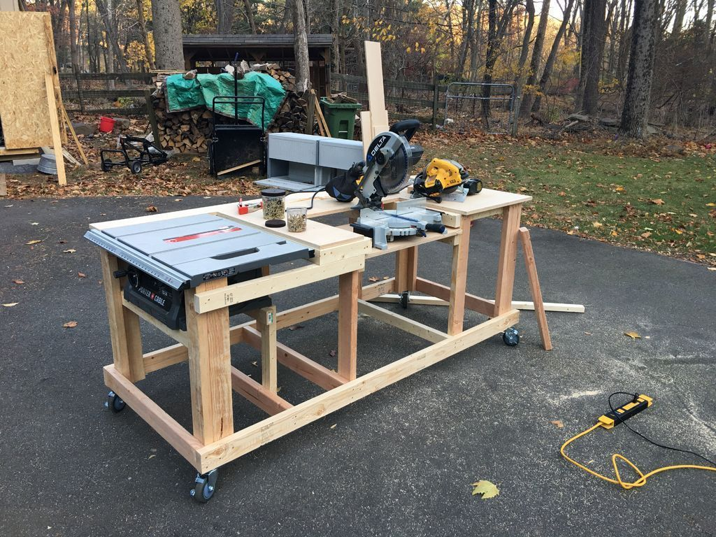 Mobile workbench with built in table miter saws 8 steps for Table saw workbench woodworking plans