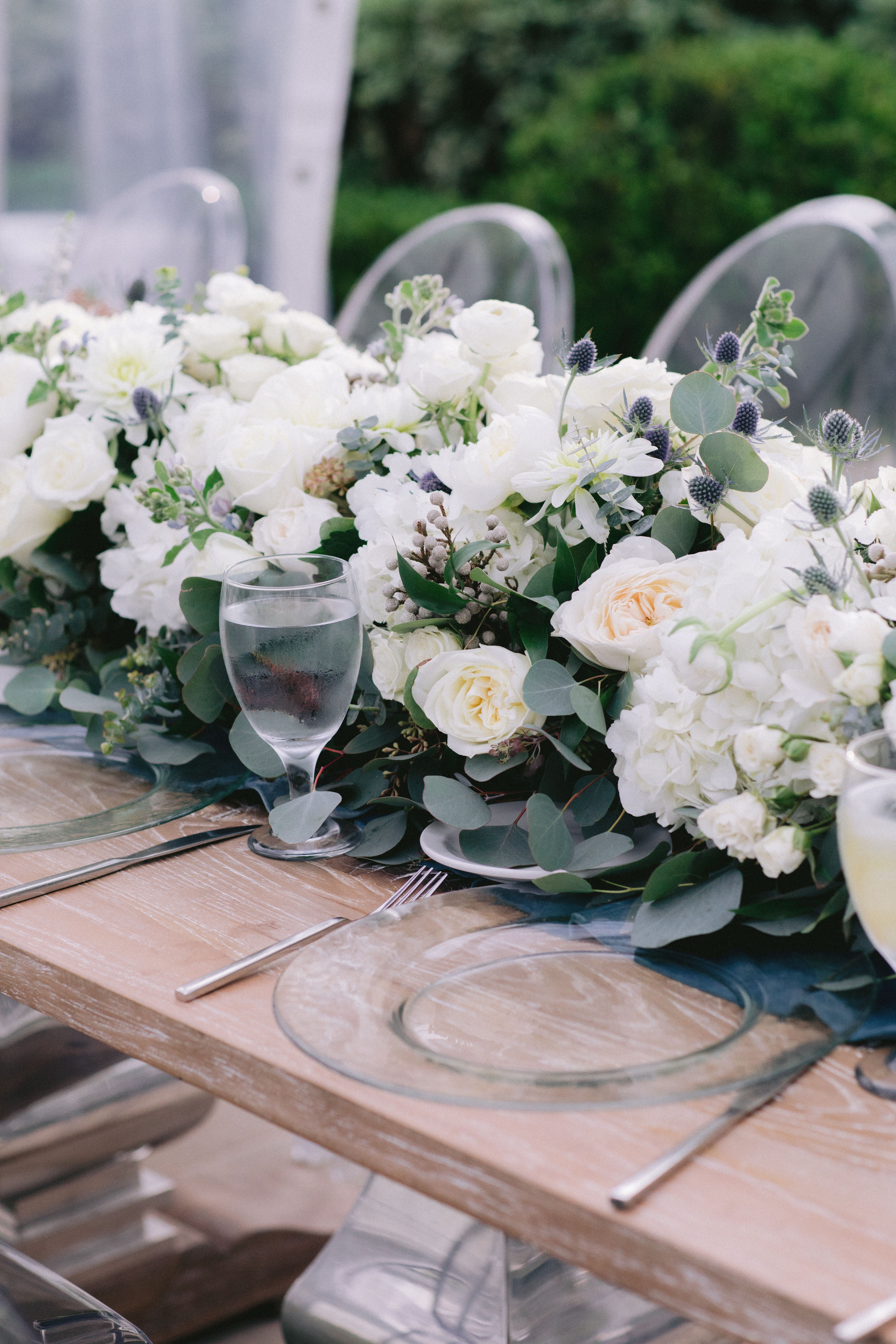 white floral, white floral and greenery, garden wedding