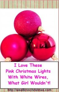 pink christmas lights white wire