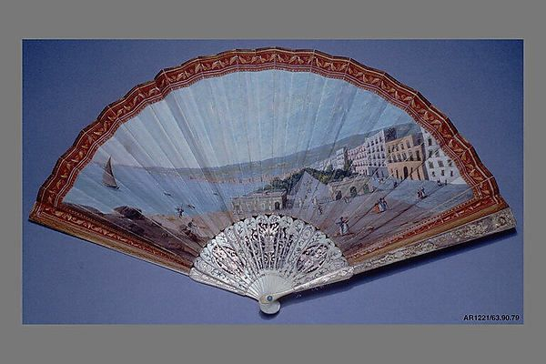 Fan Date: early 19th century Culture: Italian Medium: Parchment, paint, ivory, gold, silver