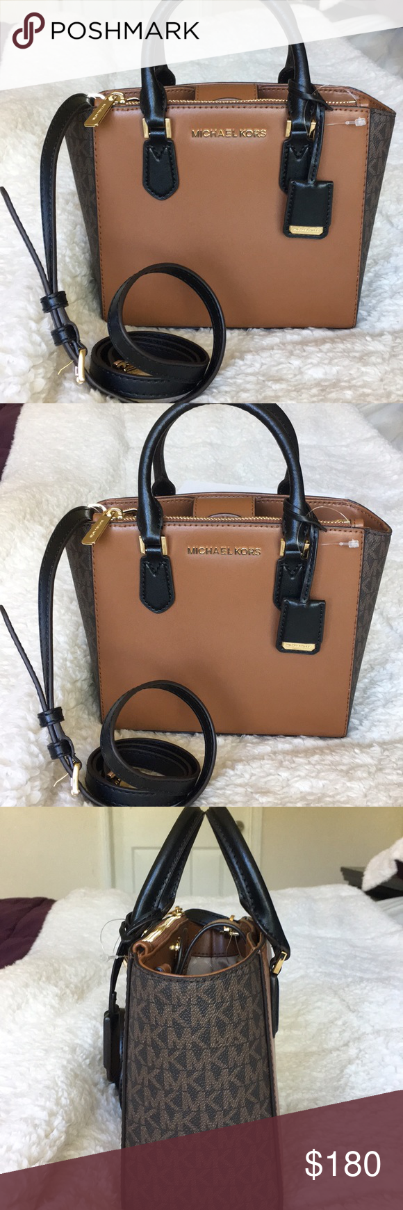 a49afb56fea6 NWT Michael Kors PVC/LEATHER Carolyn small tote STYLE: 35F8GY7T1V Color:  Brown/Luggage MICHAEL Michael Kors Calolyn Collections, This Small Tote  Crossbody ...