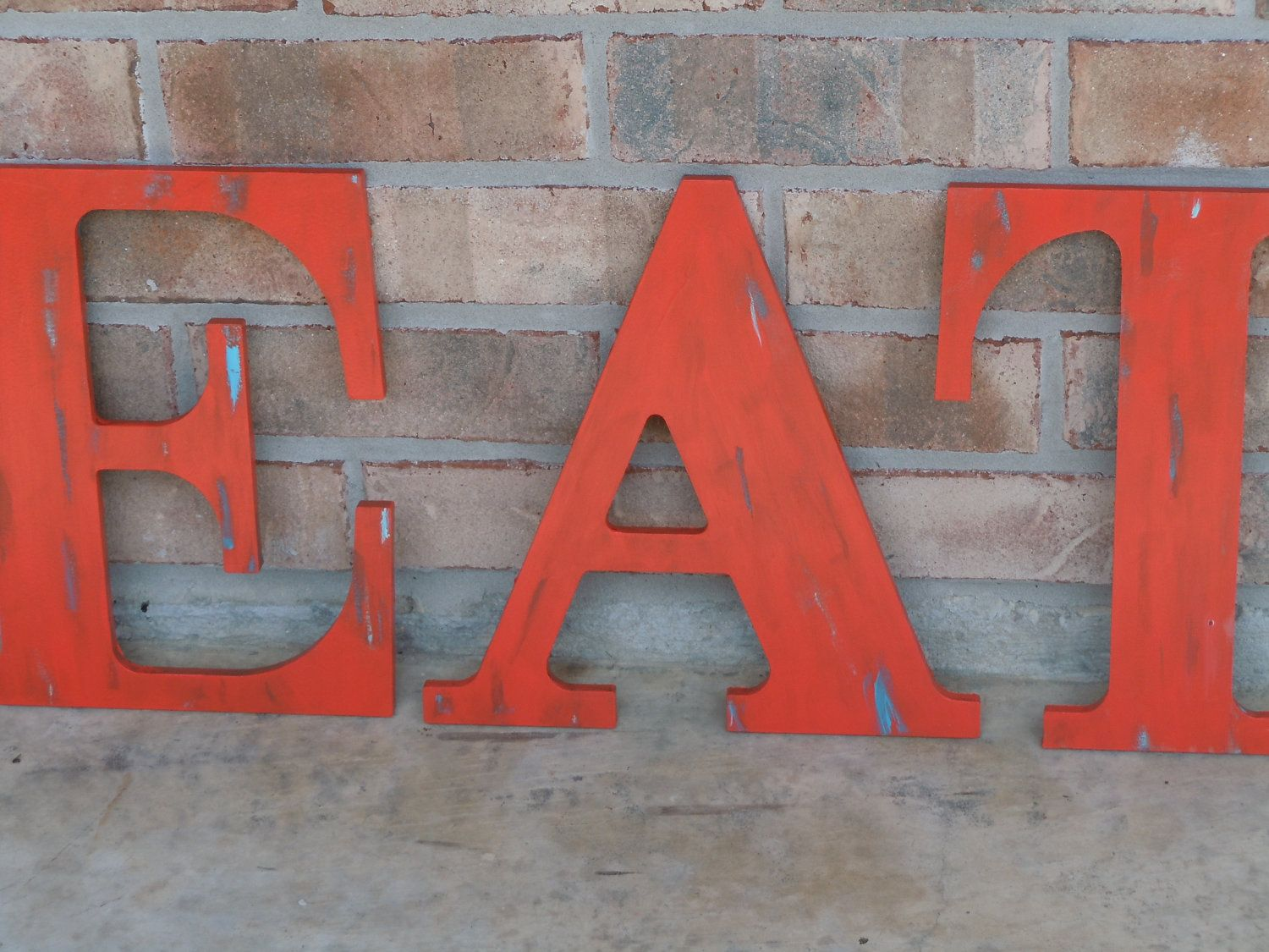 EAT Sign / Rustic Kitchen Decor / Shabby Letters / Rustic Letters /  Typography. $33.75