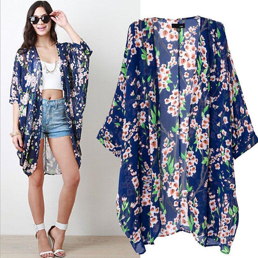 Bohemian Floral Print Kimono - Boho Chic - Bohemian Beach Cover Uo ...
