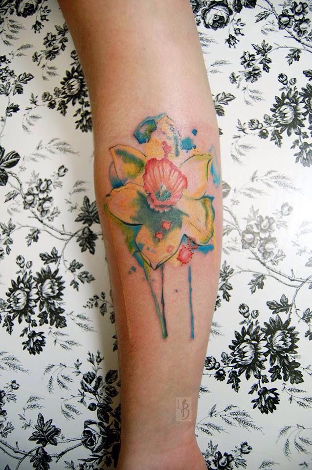 Watercolor Tattoo Daffodil Daffodil Tattoo Tattoos Baby Tattoos