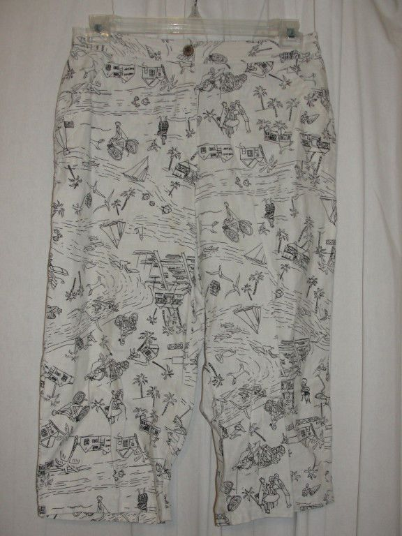 Chicos Size 1.5 Medium Ivory Black 100% Linen Capri Crop Pants Multi-pocket #Chicos #CaprisCropped