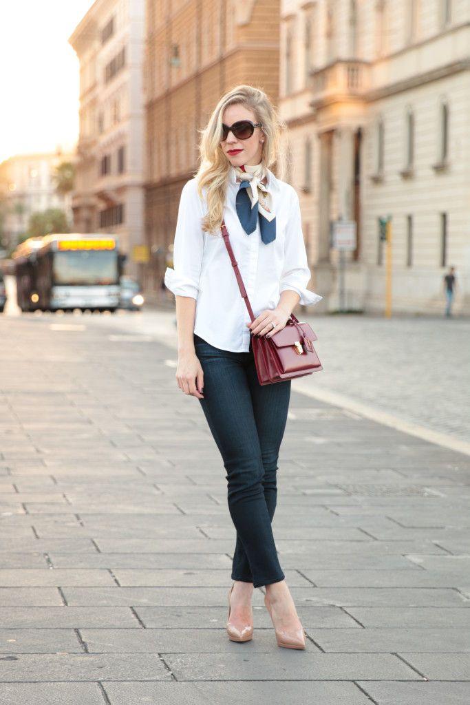 Timeless: white button down shirt, Ferragamo silk scarf, Adriano ...