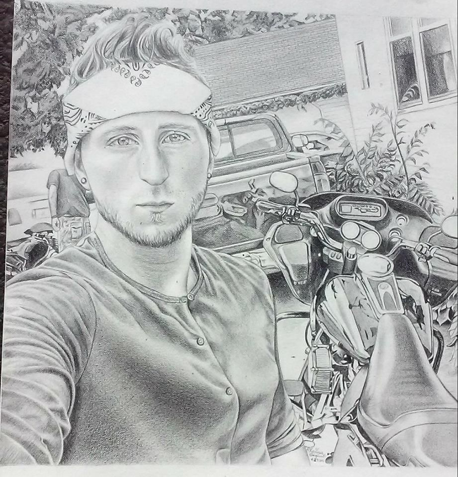 This is a pencil drawing of Joey, a young man who died in a ...