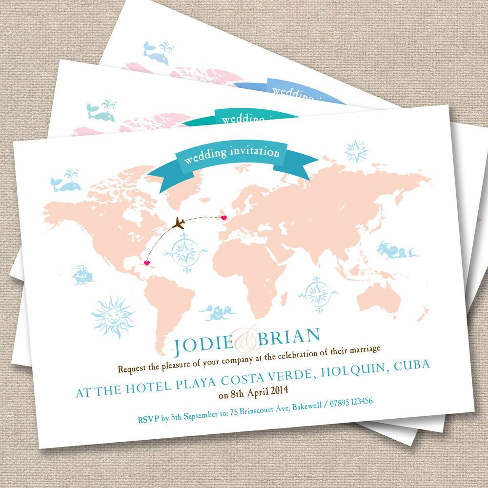 25 x Personalised Wedding Invitations Vintage World Map Post Card ...