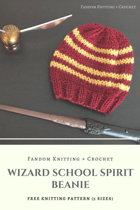 Wizard School Spirit Beanie – Free Knitting Pattern | Harry Potter ...