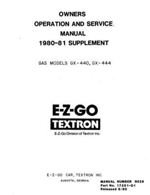 ezgo 17251g1 1980 1981 service parts manual supplement for gas ezgo rh pinterest com ezgo marathon repair manual 1993 ez go marathon manual