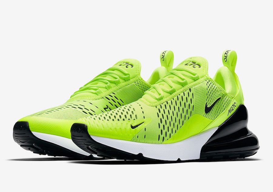 Mens White & Volt Nike Air Max 270 Shoe