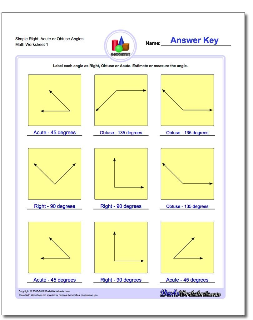 Simple Right, Acute or Obtuse Angles Worksheet #Basic