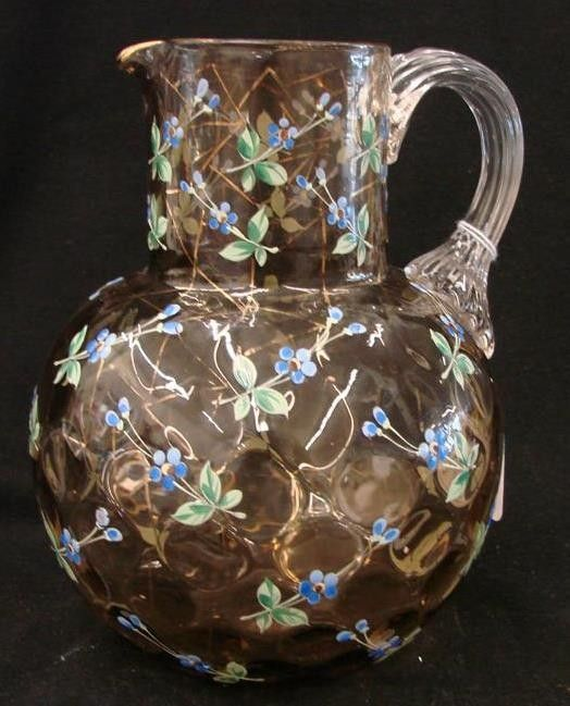Unsigned Moser Art Glass Coin Dot Pitcher with All-Over Enameled Flowers, Gold Decor, & Applied Clear Glass